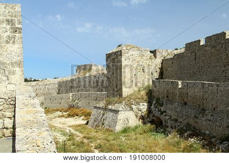 Moat of a knightly fortress on the island of Rhodes. Greece