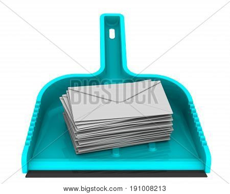 Envelopes with unwanted messages on the scoop. Scoop lies on a white surface with stack unwanted messages (SPAM). Isolated. 3D Illustration. Isolated. 3D Illustration