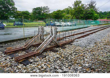 View of the Sembulan,Kota Kinabalu,Sabah railway track on a sunny day