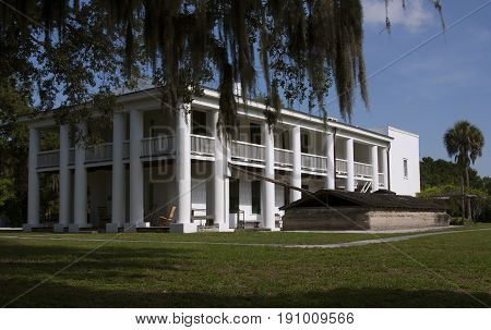 The historic old southern mansion at Gamble Plantation State Park in Ellenton, Florida