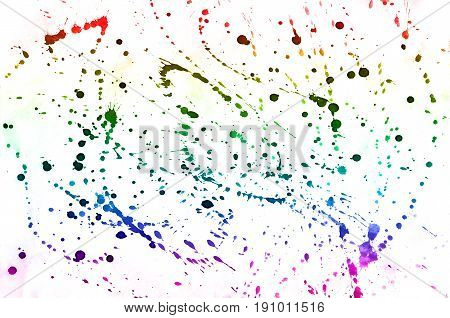 Abstract Watercolor Background Of Multi-colored Ink Stains Of All Spectral Colors. Background Image