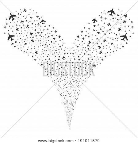 Jet Plane salute stream. Vector illustration style is flat gray iconic jet plane symbols on a white background. Object fountain constructed from random icons.