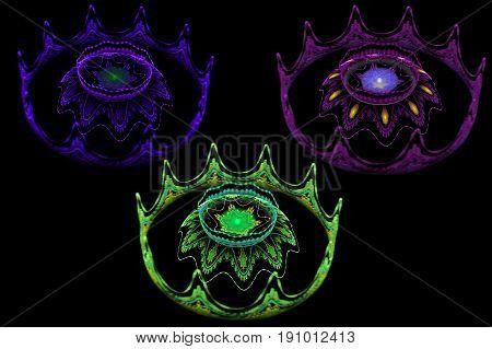 fractal colored gas burner flowers on black