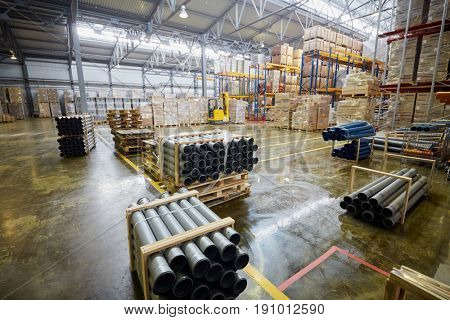 MOSCOW, RUSSIA - MAR 01, 2017: Warehouse of finished production at Sinikon factory. The joint Russian-Italian company Sinikon producing plastic pipes was founded in 1996.