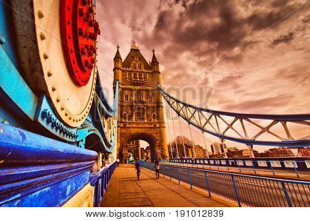 Tower Bridge walkway in London over the river Thames; filter applied