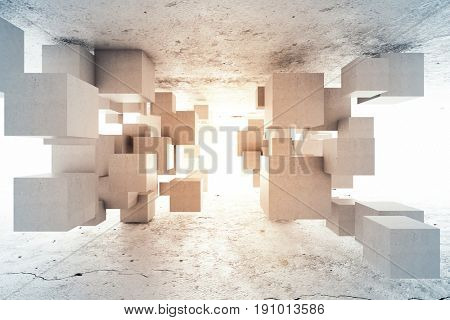 Abstract geometric background of concrete cubes. 3D illustration.