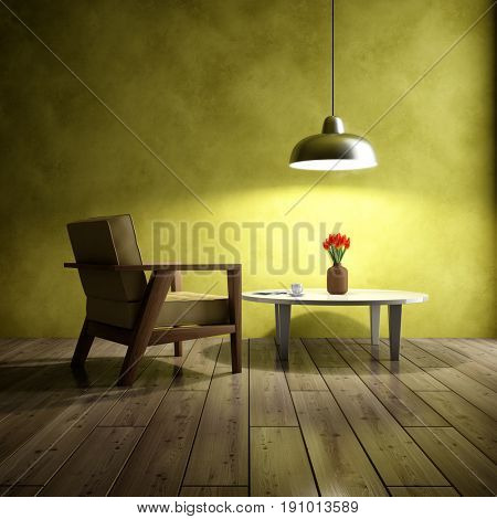 Dark interior of room with armchair and coffee table. 3D illustration.
