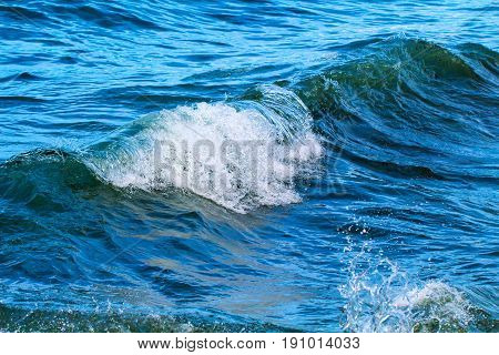 Seaside wave with foam. Sea wave swelling. Oceanic water during high tide. Surfing in seashore. Clean wave splash backdrop. Seaside vacation concept. Marine scene or background. Wave curl with spray