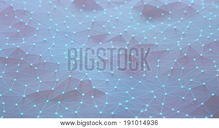 3D illustration abstract background. Mesh with connections and points that can represent cloud computing or internet connections.