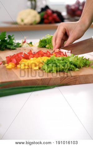 Close up of woman's hands cooking in the kitchen. Housewife slicing fresh salad. Vegetarian and healthily cooking concept