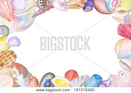 Watercolor seashell frame with text place. Hand-drawn illustration with tropical sea shells. Summer holiday travel handdrawn banner template. Sea shells border. Seashore animal. Shelling background