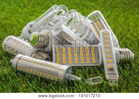 ecological and economical LED bulbs of various types on the green grass