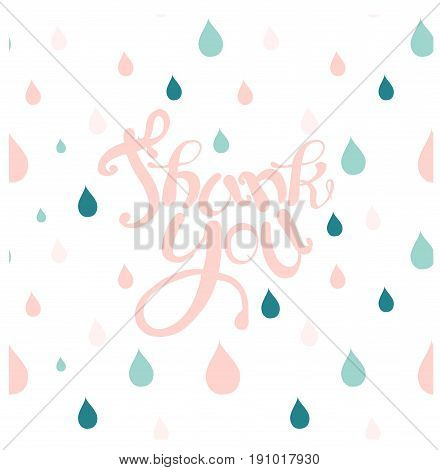 Motivation banner with pink lettering Thank you, blue and pink raindrop background stock vector illustration