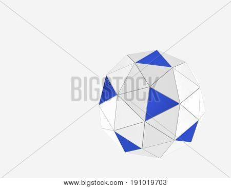 Blue and white spheres from triangles geometry background. Abstract 3d rendering