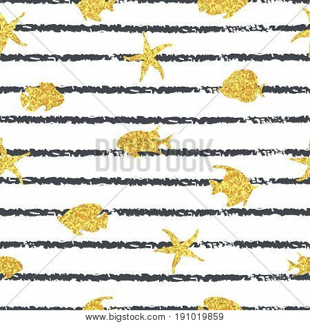 Seamless striped sea pattern with golden fish. Vector trendy marine background.