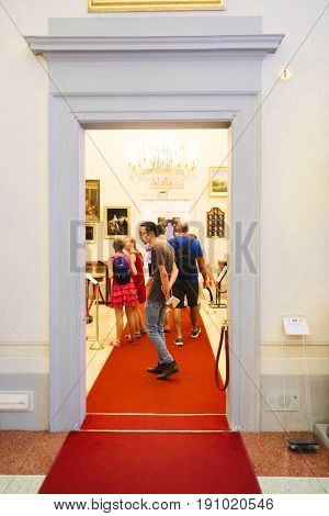 Florence, Italy - June, 5, 2017: visitors in Pitti palace in Florence, Italy