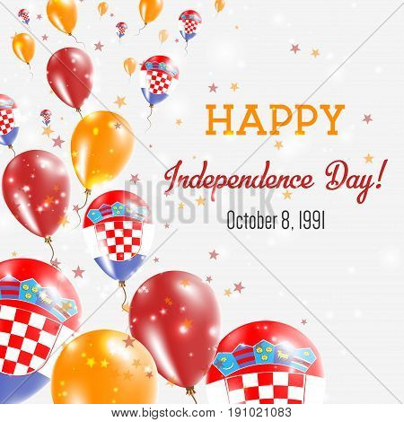 Croatia Independence Day Greeting Card. Flying Balloons In Croatia National Colors. Happy Independen