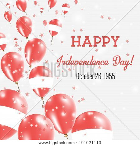 Austria Independence Day Greeting Card. Flying Balloons In Austria National Colors. Happy Independen