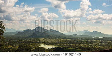 Green valley and blue sky, Ceylon scenery