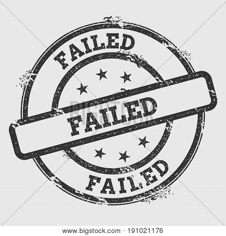 Failed Rubber Stamp Isolated On White Background. Grunge Round Seal With Text, Ink Texture And Splat