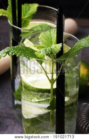 Mojito Cocktail With Lime And Mint In Highball Glass On A Grey S