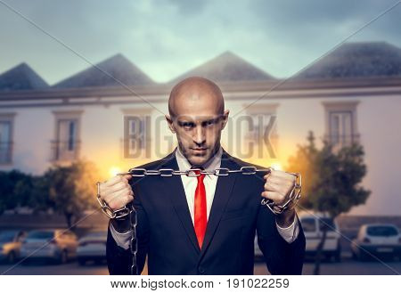Silent killer with iron chain in hands