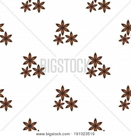 Star anise spice pattern seamless flat style for web vector illustration
