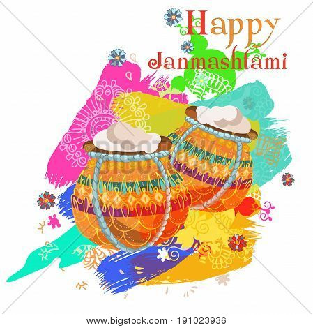 Happy Janmashtami. Indian fest. Dahi handi on Janmashtami, celebrating birth of Krishna. Watercolor abstract background. Illustration for creative flyer, banner, greeting cards