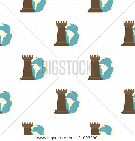 Globe Earth and chess rook pattern seamless flat style for web vector illustration