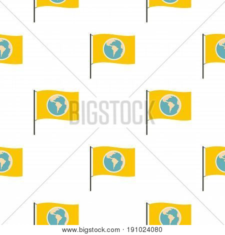 Yellow flag with the image of the globe pattern seamless flat style for web vector illustration
