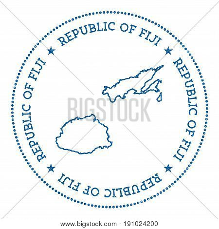 Fiji Vector Map Sticker. Hipster And Retro Style Badge With Fiji Map. Minimalistic Insignia With Rou