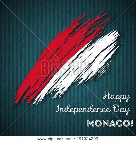 Monaco Independence Day Patriotic Design. Expressive Brush Stroke In National Flag Colors On Dark St