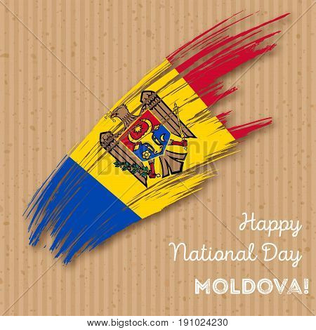 Moldova Independence Day Patriotic Design. Expressive Brush Stroke In National Flag Colors On Kraft