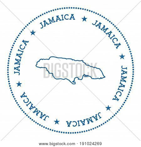 Jamaica Vector Map Sticker. Hipster And Retro Style Badge With Jamaica Map. Minimalistic Insignia Wi