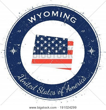Wyoming Circular Patriotic Badge. Grunge Rubber Stamp With Usa State Flag, Map And The Wyoming Writt