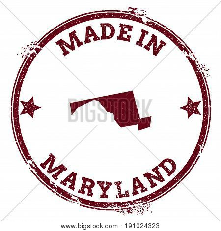 Maryland Vector Seal. Vintage Usa State Map Stamp. Grunge Rubber Stamp With Made In Maryland Text An