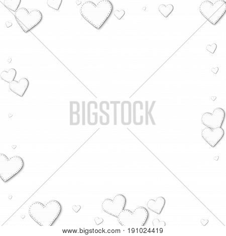 Cutout White Paper Hearts. Square Scattered Border With Cutout White Paper Hearts On White Backgroun