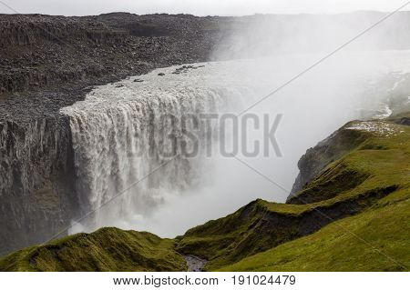 Fantastic Dettifoss Waterfall In Vatnajokull National Park In Northeast Iceland. Most Powerful Water