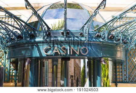 Monaco, Monte Carlo - September 17, 2016: The Grand casino Monte Carlo, gambling and entertainment complex in Cote de Azul. Entry sign