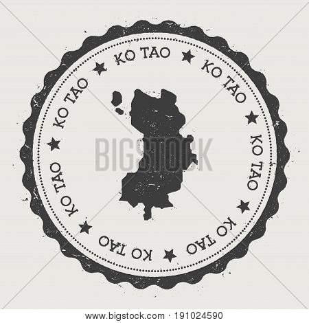 Ko Tao Sticker. Hipster Round Rubber Stamp With Island Map. Vintage Passport Sign With Circular Text