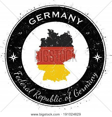 Germany Circular Patriotic Badge. Grunge Rubber Stamp With National Flag, Map And The Germany Writte