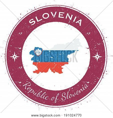 Slovenia Circular Patriotic Badge. Grunge Rubber Stamp With National Flag, Map And The Slovenia Writ