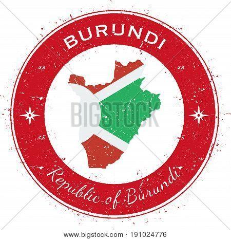 Burundi Circular Patriotic Badge. Grunge Rubber Stamp With National Flag, Map And The Burundi Writte