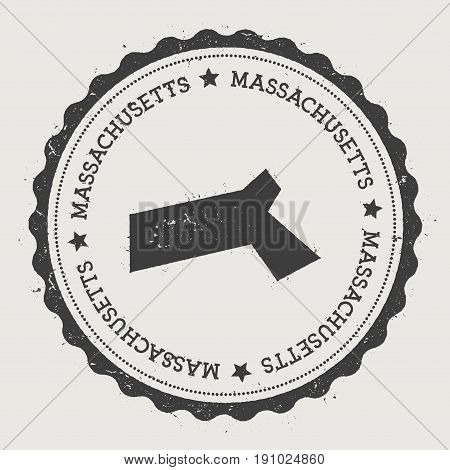 Massachusetts Vector Sticker. Hipster Round Rubber Stamp With Us State Map. Vintage Passport Stamp W