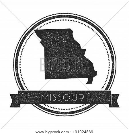 Missouri Vector Map Stamp. Retro Distressed Insignia With Us State Map. Hipster Round Rubber Stamp W