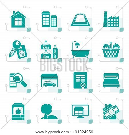 Stylized Real Estate objects and Icons - Vector Icon Set