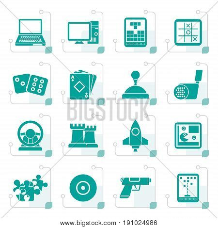 Stylized Computer Games tools and Icons - vector icon set