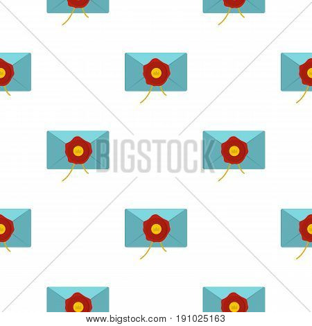 Blue envelope with red wax seal pattern seamless flat style for web vector illustration