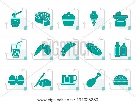 Stylized Dairy Products - Food and Drink icons - vector icon set