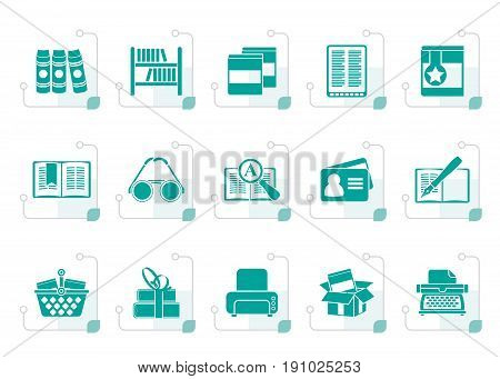 Stylized Library and books Icons - vector icon set